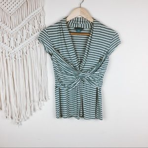 Anthro • Lil Striped Knotted Blouse